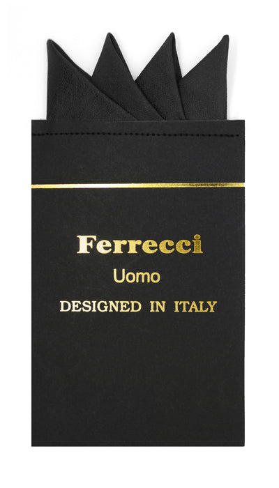 Pre-Folded Microfiber New Black Handkerchief Pocket Square - Ferrecci USA