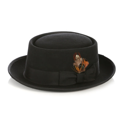 Black Wool Pork Pie Hat - Ferrecci USA