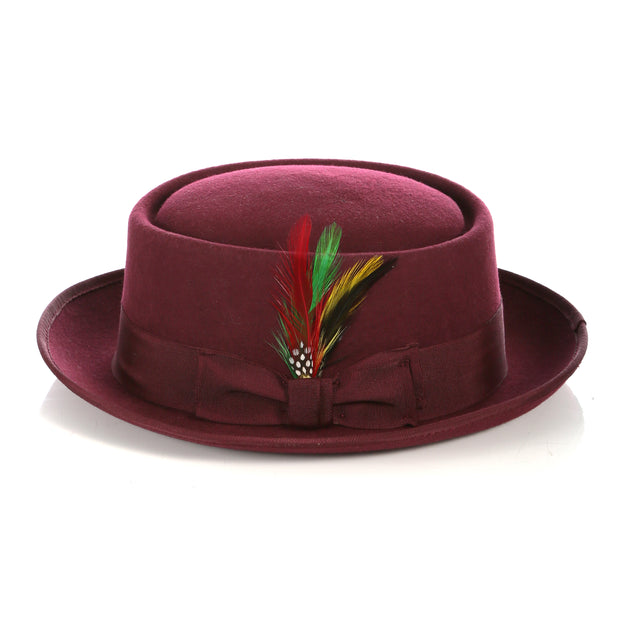 Burgundy Wool Pork Pie Hat - Ferrecci USA