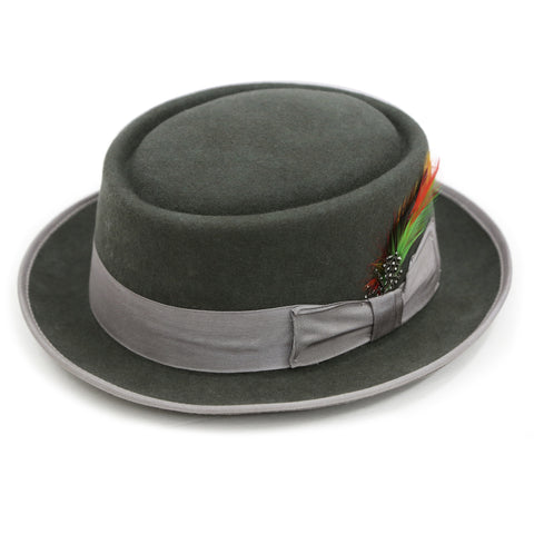 Charcoal Wool Pork Pie Hat
