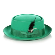 Green Wool Pork Pie Hat - Ferrecci USA