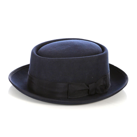 Navy Pork Pie Hat - Wool