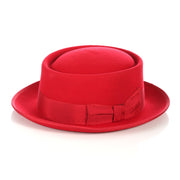 Red Wool Pork Pie Hat - Ferrecci USA