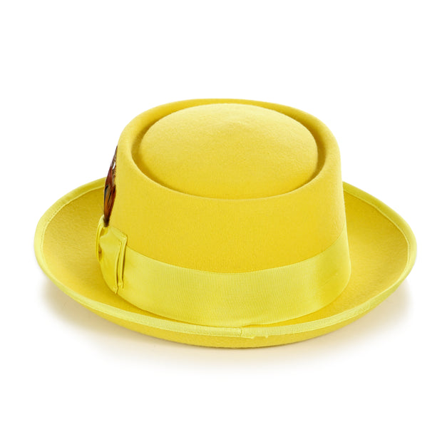 Yellow Wool Pork Pie Hat - Ferrecci USA
