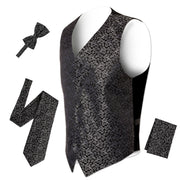 Ferrecci Premium Black Silver Detailed Satine Vest Set