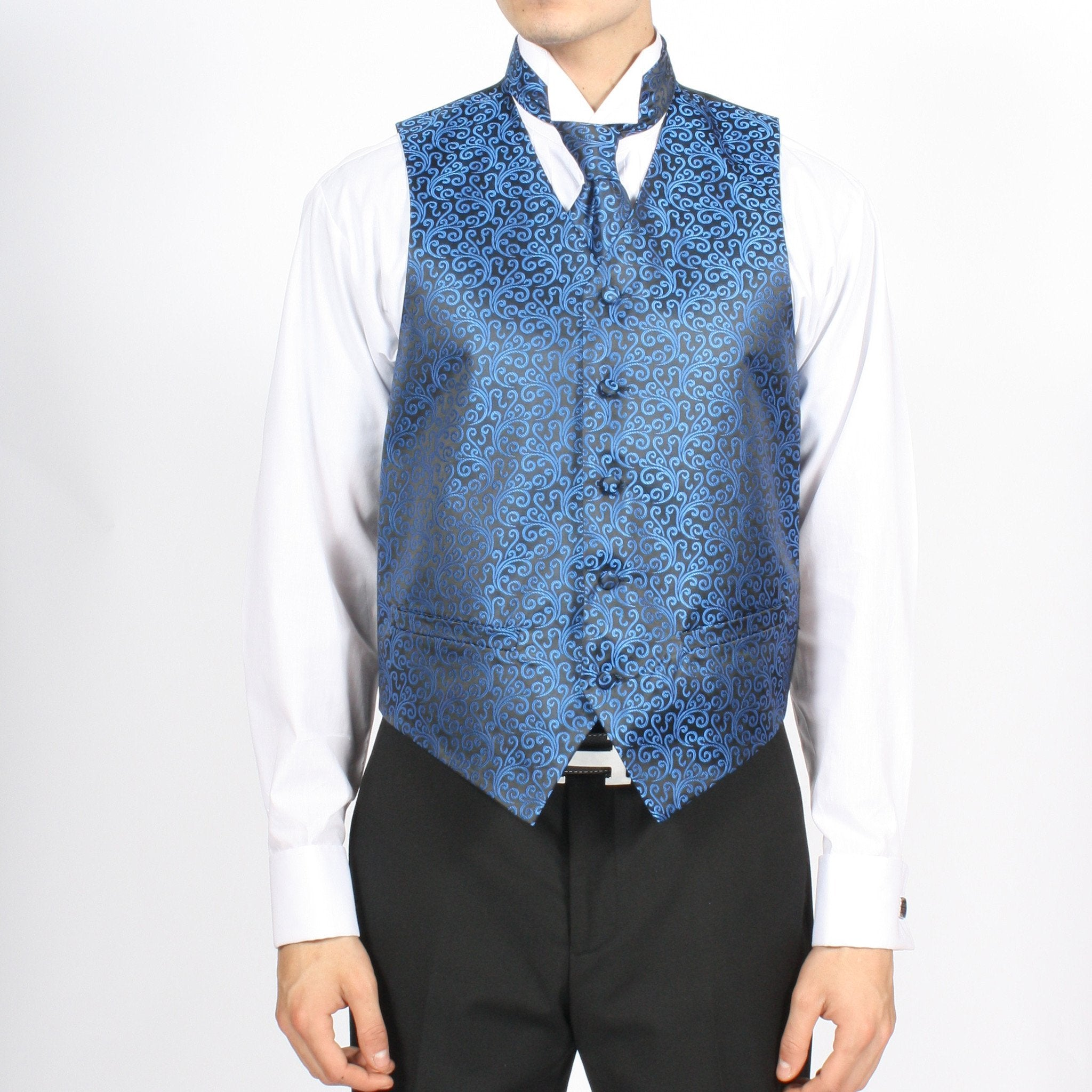 Ferrecci Mens PV50-3 Blue Black Vest Set