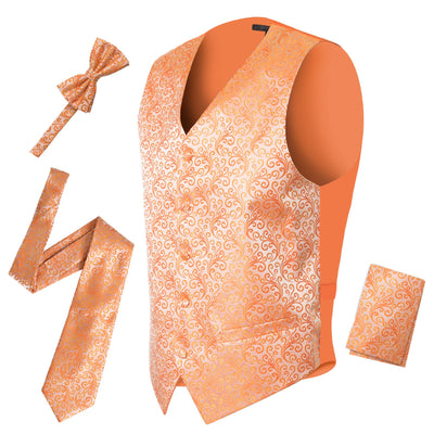 Ferrecci Premium Orange Detailed Satine Vest Set