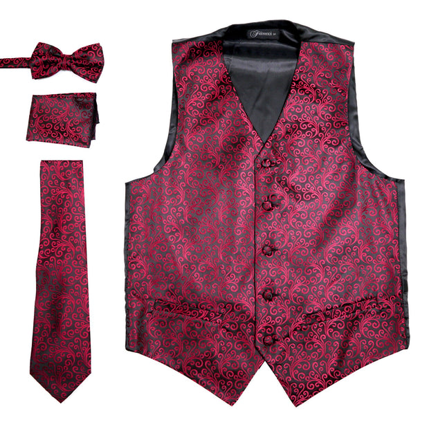 Ferrecci Mens PV50-2 Burgundy Black Vest Set - Ferrecci USA