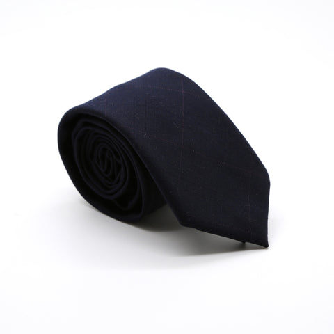 Slim Navy Blue and Burgundy Plaid Neckties & Handkerchief