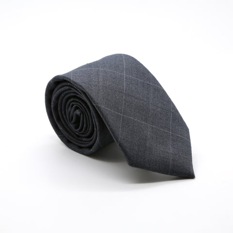 Slim Grey Plaid Neckties & Handkerchief