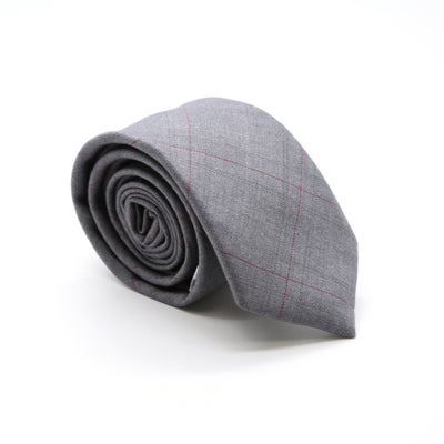 Slim Light Grey and Hint Of Red Plaid Neckties & Handkerchief - Ferrecci USA