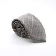 Slim Taupe & Grey With Hint Of Lavender Plaid Neckties & Handkerchief - Ferrecci USA