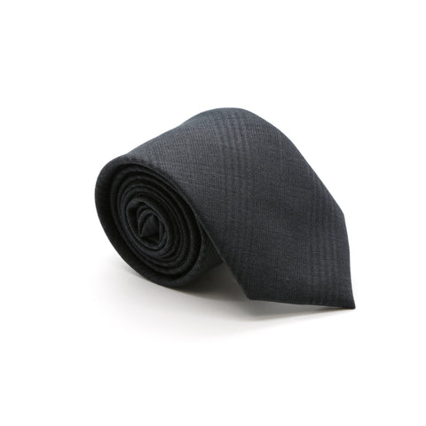 Slim Tone on Tone Charcoal Plaid Necktie & Handkerchief