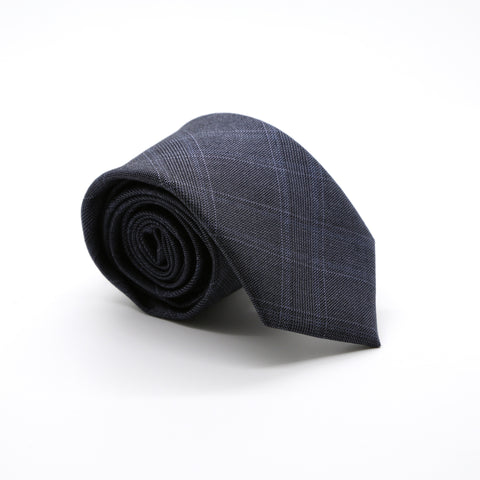 Slim Navy Blue Shiny Plaid Neckties & Handkerchief