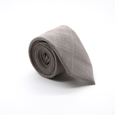 Slim Beige and Charcoal With Hint Of Lavender Plaid Neckties & Handkerchief - Ferrecci USA