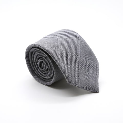 Slim Light Grey & Lavender Plaid Neckties & Handkerchief