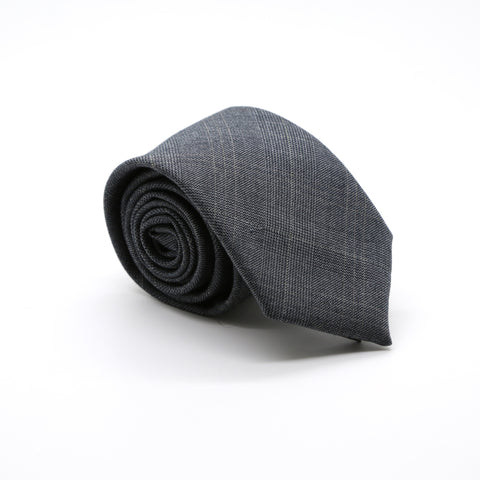 Slim Charcoal and Hint Of Tan Plaid Neckties & Handkerchief
