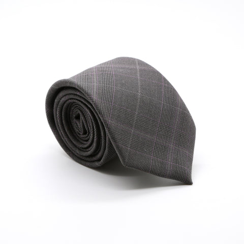 Slim Charcoal & Grey With Hint Of Lavender Plaid Neckties & Handkerchief