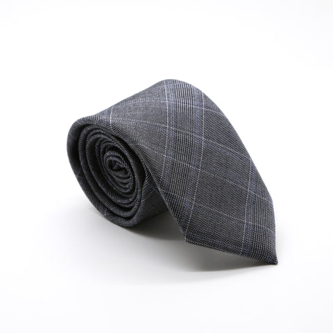 Slim Grey & Blue With Hint Of Lavender Plaid Neckties & Handkerchief