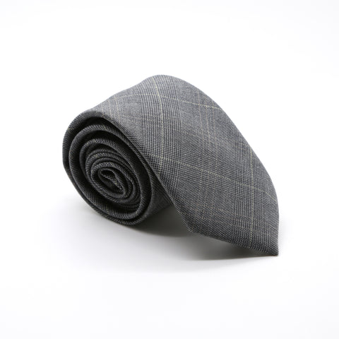 Slim Grey and Yellow Plaid Necktie & Handkerchief