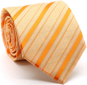 Mens Dads Classic Yellow Striped Pattern Business Casual Necktie & Hanky Set Q-1 - Ferrecci USA