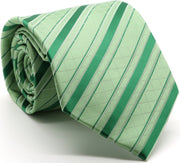 Mens Dads Classic Green Striped Pattern Business Casual Necktie & Hanky Set Q-2