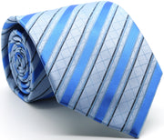 Mens Dads Classic Blue Striped Pattern Business Casual Necktie & Hanky Set Q-7 - Ferrecci USA
