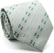 Mens Dads Classic Green Geometric Pattern Business Casual Necktie & Hanky Set QO-3 - Ferrecci USA