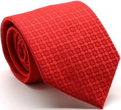 Mens Dads Classic Red Geometric Pattern Business Casual Necktie & Hanky Set R-1 - Ferrecci USA