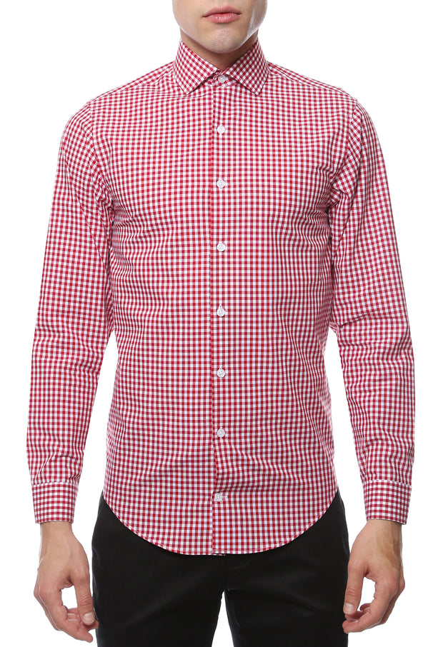Red Gingham Check Dress Shirt - Slim Fit - Ferrecci USA
