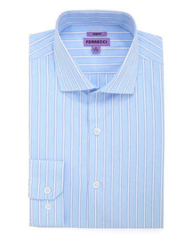 The Regal Blue Striped Slim Fit Cotton Dress Shirt