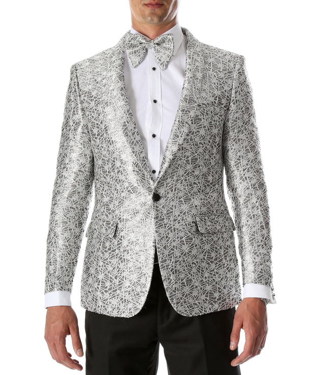 Men's Rene Abstract Silver Modern Fit Shawl Collar Tuxedo Blazer - Young Man's Prom Wear - Ferrecci USA