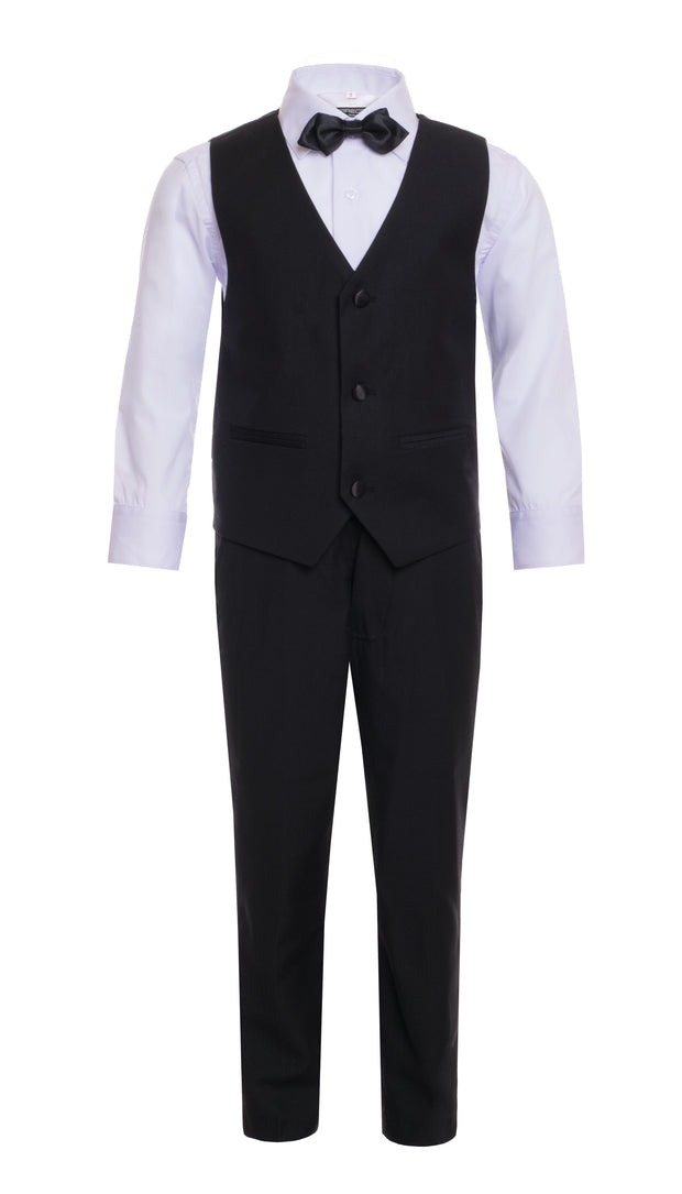 Boys Black Shawl Collar Tuxedo 5pc Set - FERRECCI