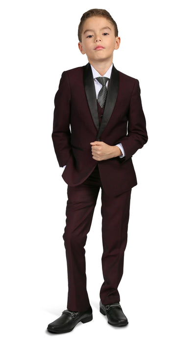 Boys Reno JR 5pc Burgundy Shawl Tuxedo Set