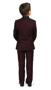 Boys Reno JR 5pc Burgundy Shawl Tuxedo Set - Ferrecci USA