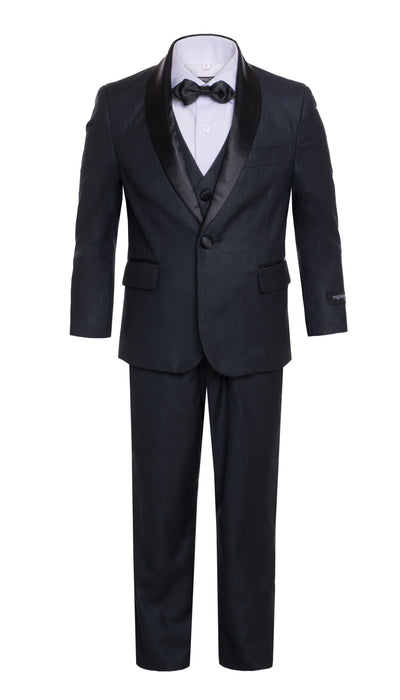 Boys Navy Shawl Collar Tuxedo 5pc Set - FERRECCI