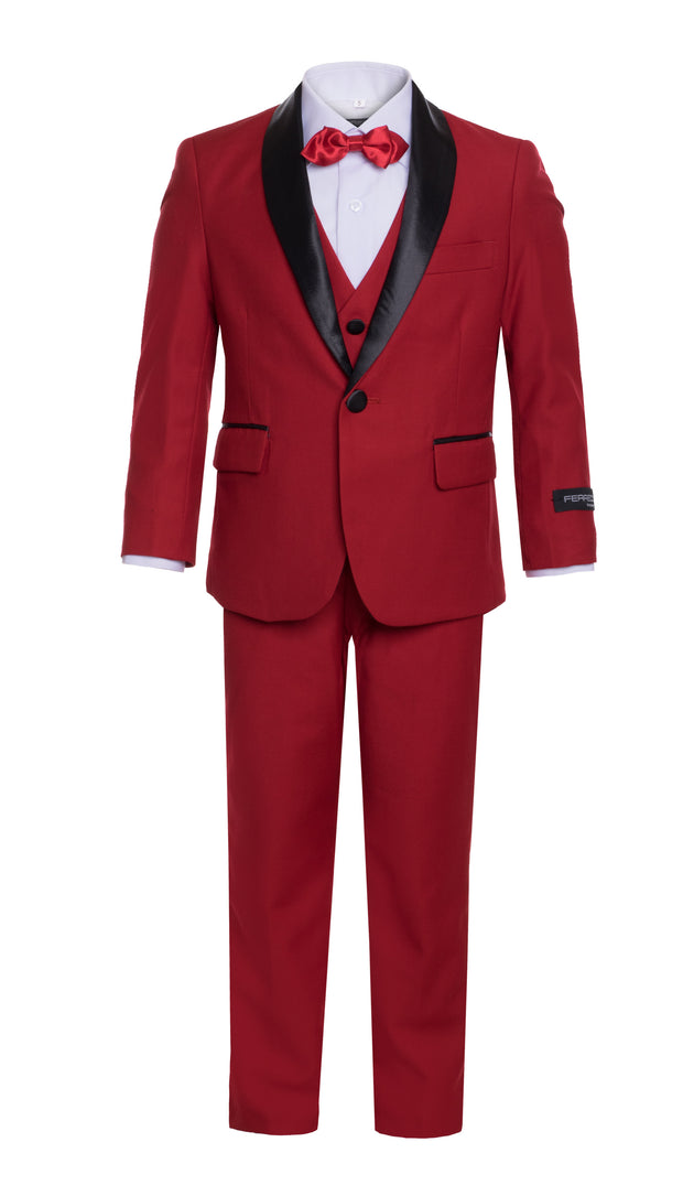 Boys Reno JR 5pc Red Shawl Tuxedo Set - Ferrecci USA