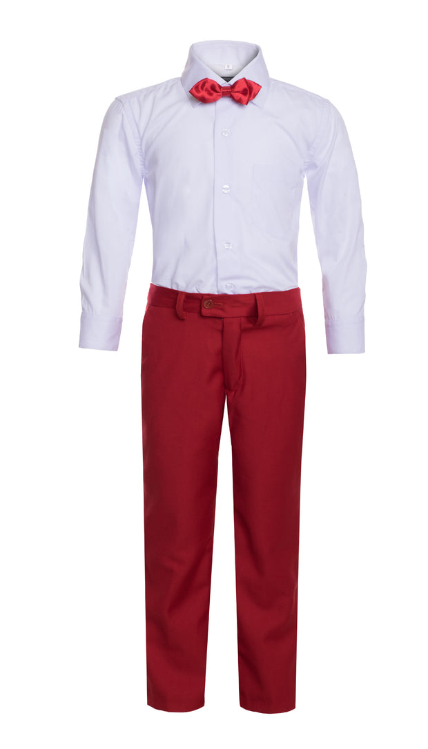 Boys Red Shawl Collar Tuxedo 5pc Set - FERRECCI