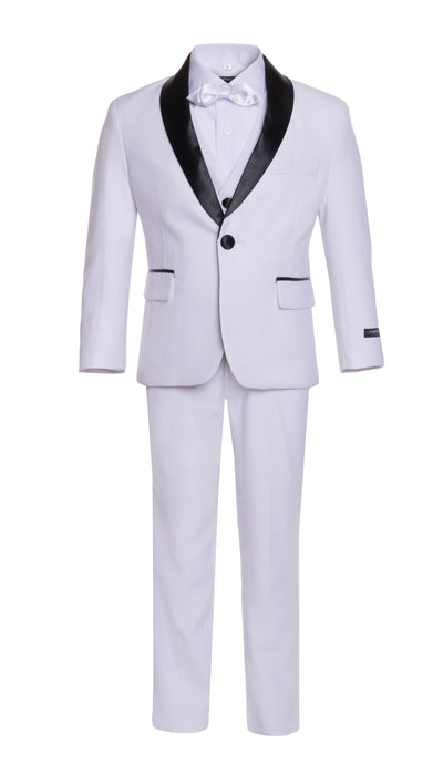 Boys White Shawl Collar Tuxedo 5pc Set - FERRECCI