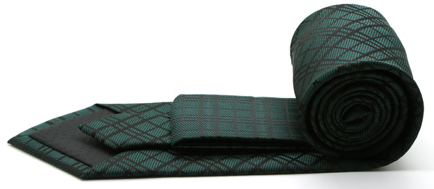 Mens Dads Classic Green Striped Pattern Business Casual Necktie & Hanky Set RO-6 - Ferrecci USA