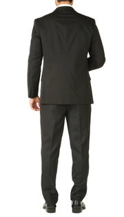 Rod Premium Black 2 Piece Wool Suit Stain Resistant Traveler Suit with 2 Pairs of Pants - Ferrecci USA