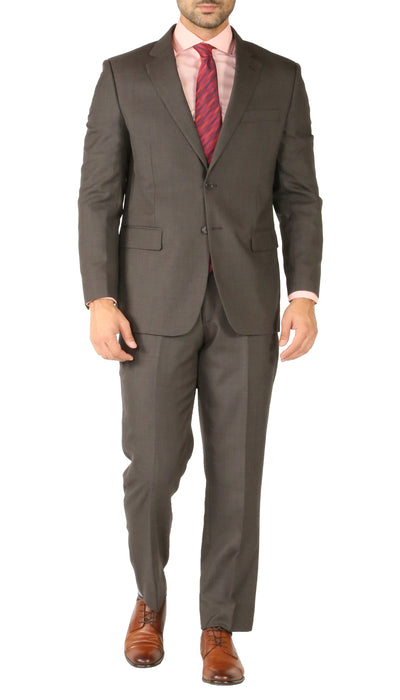 Rod Premium Taupe Wool 2pc Stain Resistant Traveler Suit - w 2 Pairs of Pants - Ferrecci USA