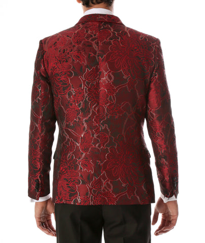 Men's Romi Red Floral Modern Fit Shawl Collar Tuxedo Blazer