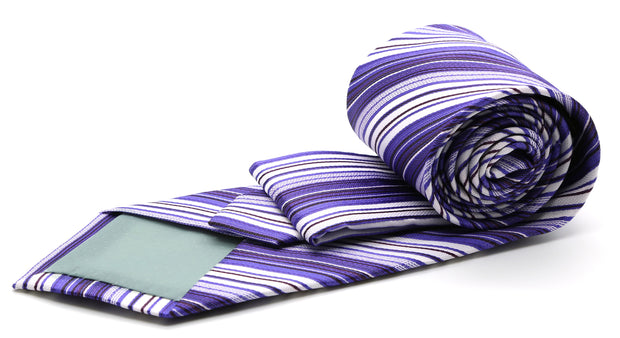 Mens Dads Classic Purple Striped Pattern Business Casual Necktie & Hanky Set S-12 - Ferrecci USA