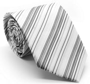 Mens Dads Classic Grey Striped Pattern Business Casual Necktie & Hanky Set S-3 - Ferrecci USA