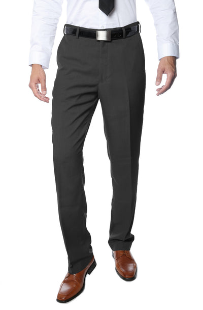 Premium Charcoal Regular Fit Suspender Ready Formal & Business Pants - Ferrecci USA