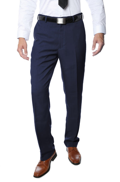 Premium Navy Regular Fit Suspender Ready Formal & Business Pants