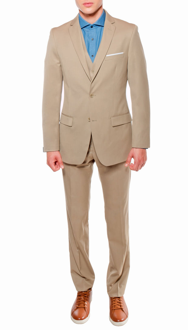 Ferrecci Mens Savannah Tan Slim Fit 3 Piece Suit - Ferrecci USA