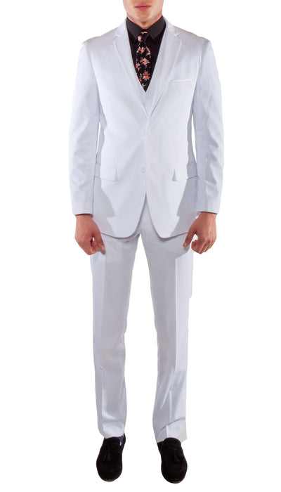 Ferrecci Men's Savannah White Slim Fit Two Button Notch Lapel Suit With Vest - Ferrecci USA