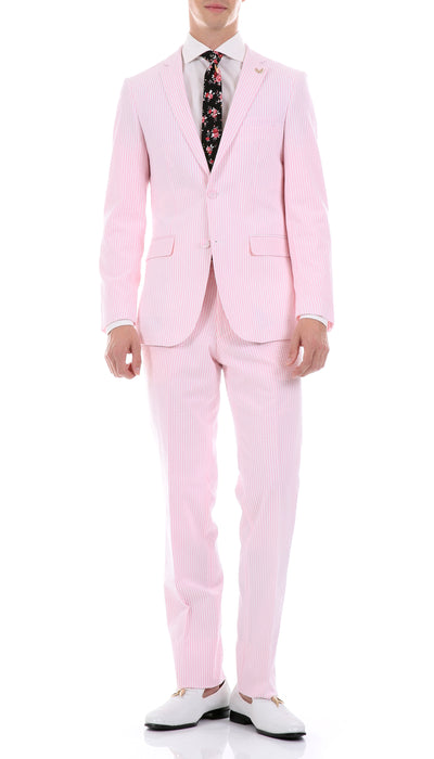 Men's  Slim Fit Two Button Pink Seersucker Suit